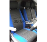VW Crafter van seat covers anthracite sports fabric with blue bolsters
